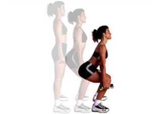 dumbbell tap squats exercise