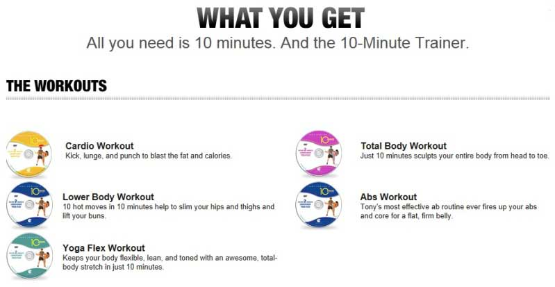 10 Minute Trainer DVDs1 10 Minute Trainer Workout: Get In Shape Fast