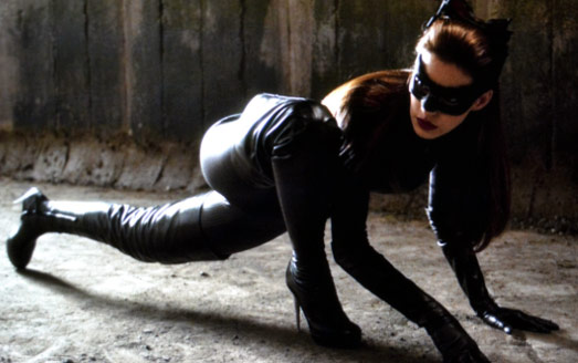 Anne Hathaway Workout Legs Crouched as Catwoman