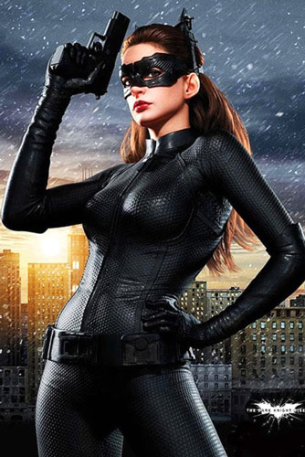 Anne Hathaway Workout Catwoman suit