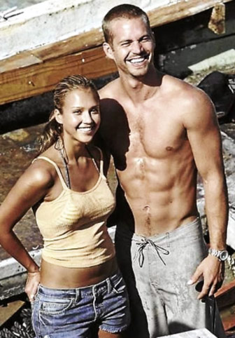 Paul Walker Body Abs Shirtless standing next to Jessica Alba