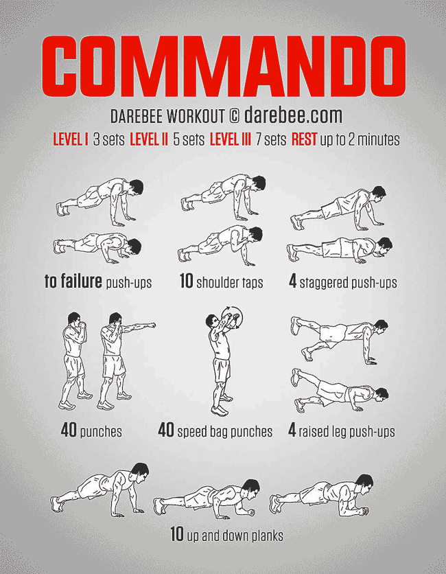 Image Of Exercises Used In The Commando Bodyweight Workout