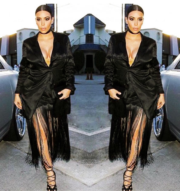 Kim Kardashian Diet Body in Black Dress With Frills