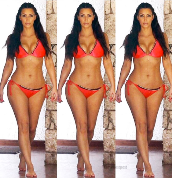 Kim Kardashian Fitness Routine Photo of Kim in Red Bikini
