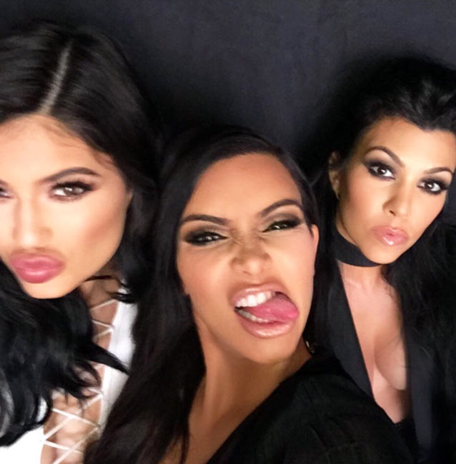Kim Kardashian Selfie With Kylie And Kourtney Sticking Out Their Tongue
