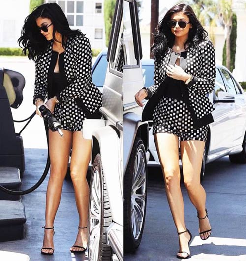 Kylie Jenner Legs In Short Dress Getting Gas