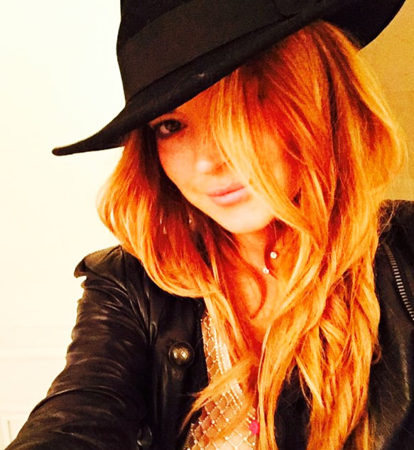 Lindsay Lohan redhead wearing hat looking sexy