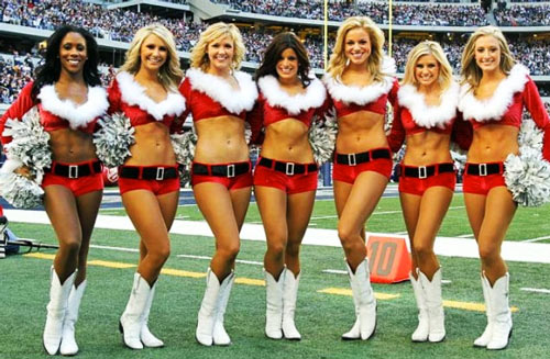 NFL Cheerleader Abs showing off their abs on game day