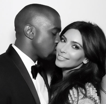 Kim kardashian and Kanye West Black White Photo