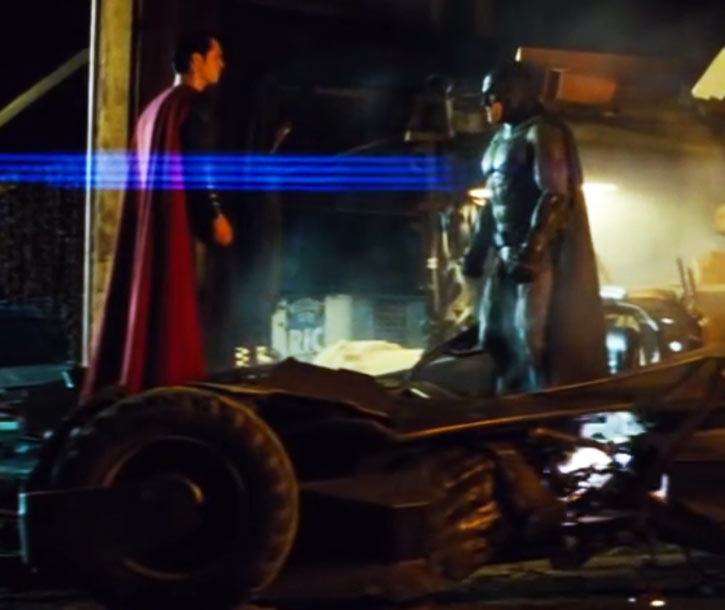 Batman v Superman Superheros staring at each other