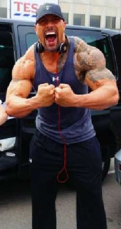 The Rock Flexing his Muscles