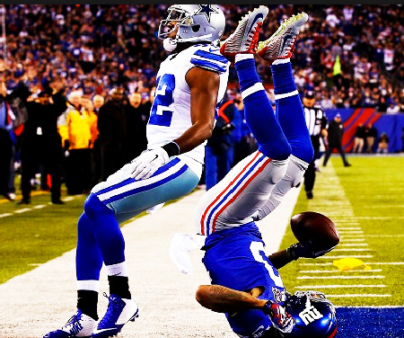 Odell Beckham Jr Catch on his Shoulders NFL