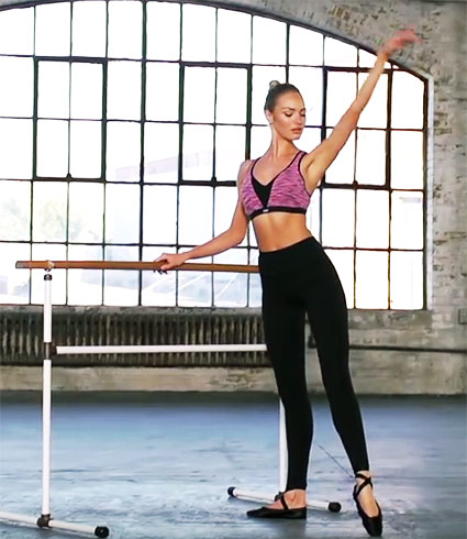 Candice Swanepoel Ballerina Workout For Toned Legs Plié Tendus