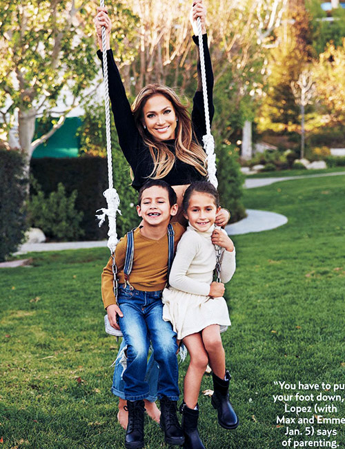 Jennifer Lopez with her kids is a balancing act