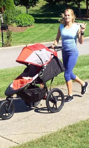 Carrie Underwood Running With Baby Isaiah