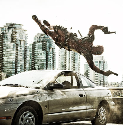 Ryan Reynolds Deadpool in action