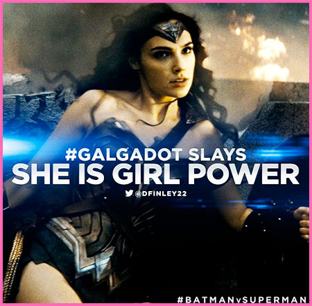 Gal Gadot plays Wonder Woman Batman v. Superman