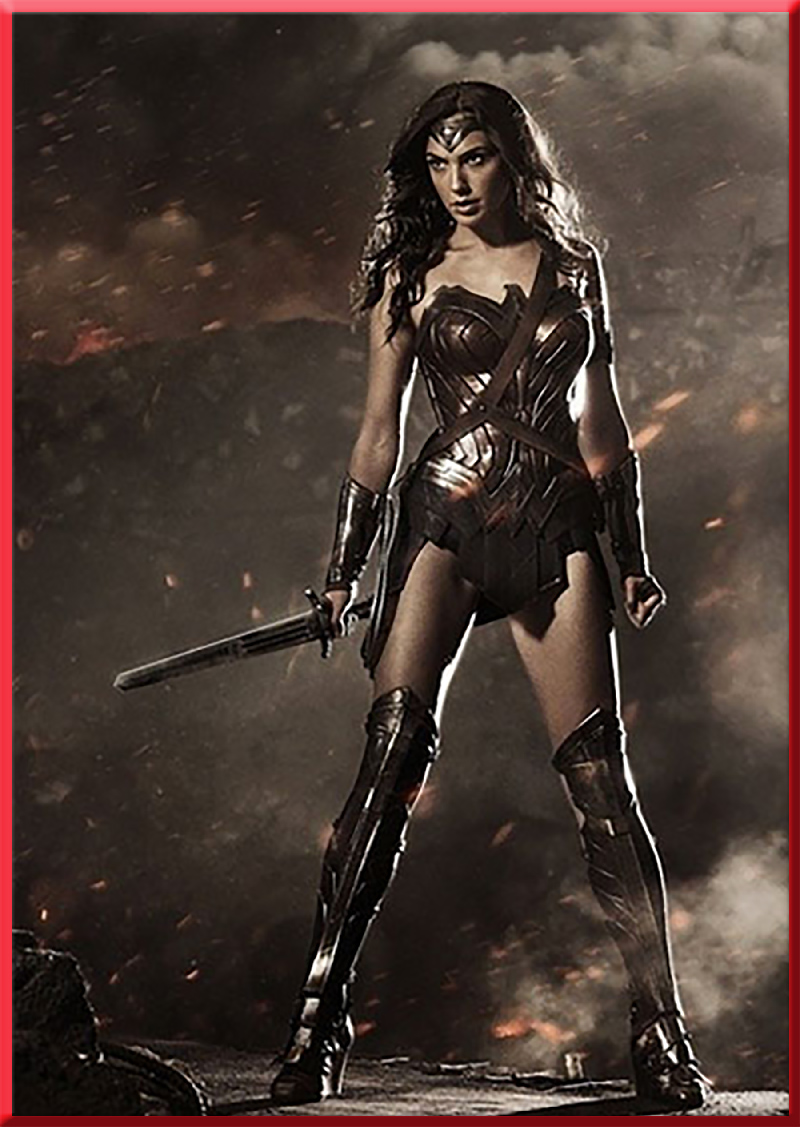 Wonder Woman Gal Gadot holding her sword, and posing intensely.