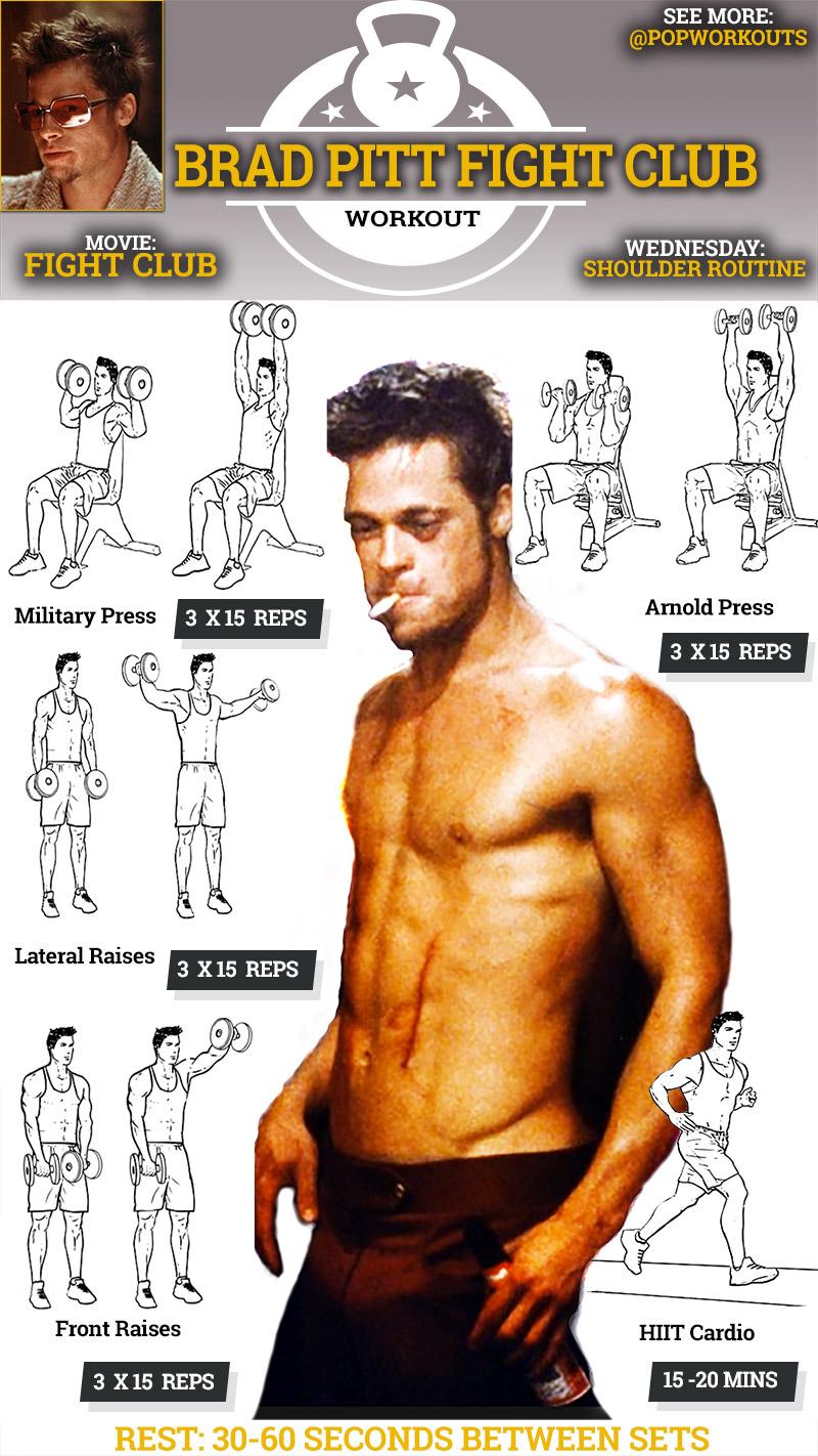 Brad Pitt Fight Club Workout Shoulder Wednesday Routine