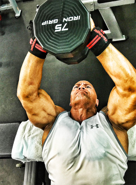 The Rock Arms Exercise for his triceps