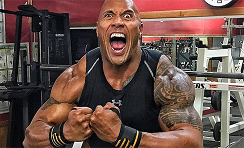 The Rock Flexing Huge Arms