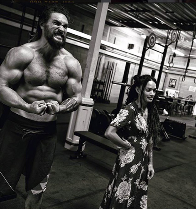 Jason Momoa Chest flexing in Gym with his Wife Showing Off His Arms